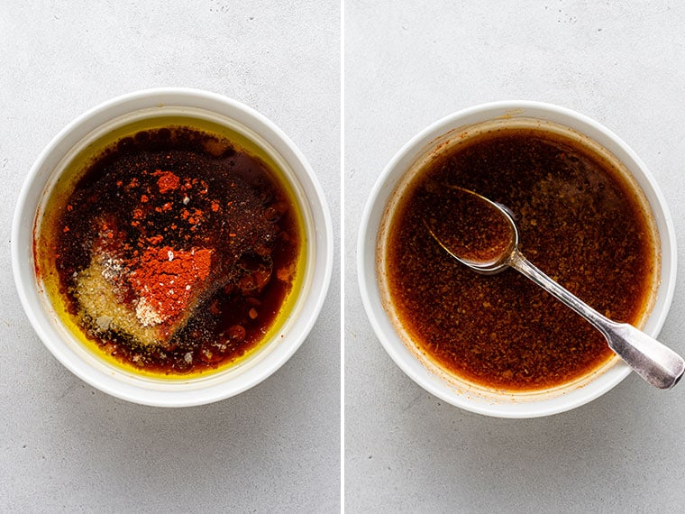 collage of smoky sauce for tempeh bacon