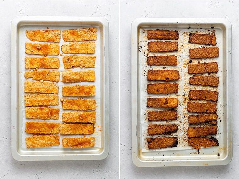 collage of tempeh bacon being cooked before and after on baking sheet