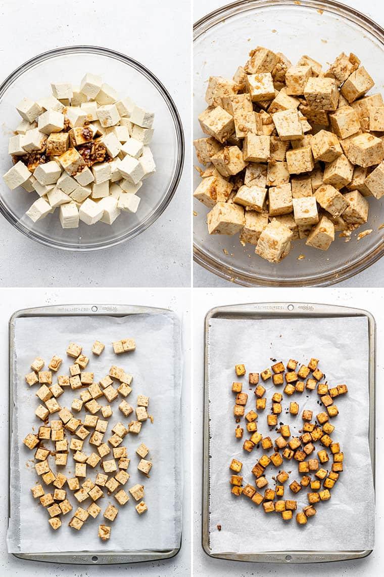 collage of baking teriyaki tofu on a baking sheet