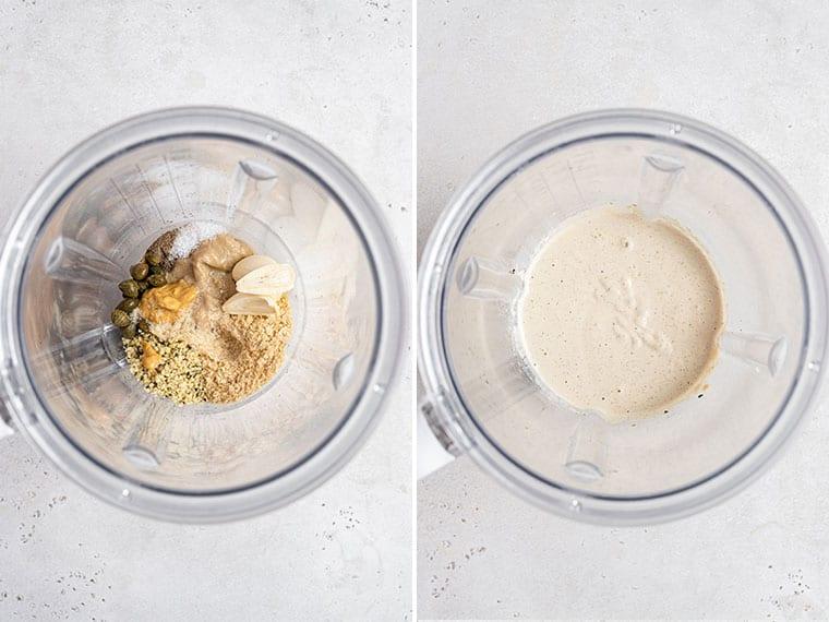 collage of blending the ingredients for vegan caesar salad dressing