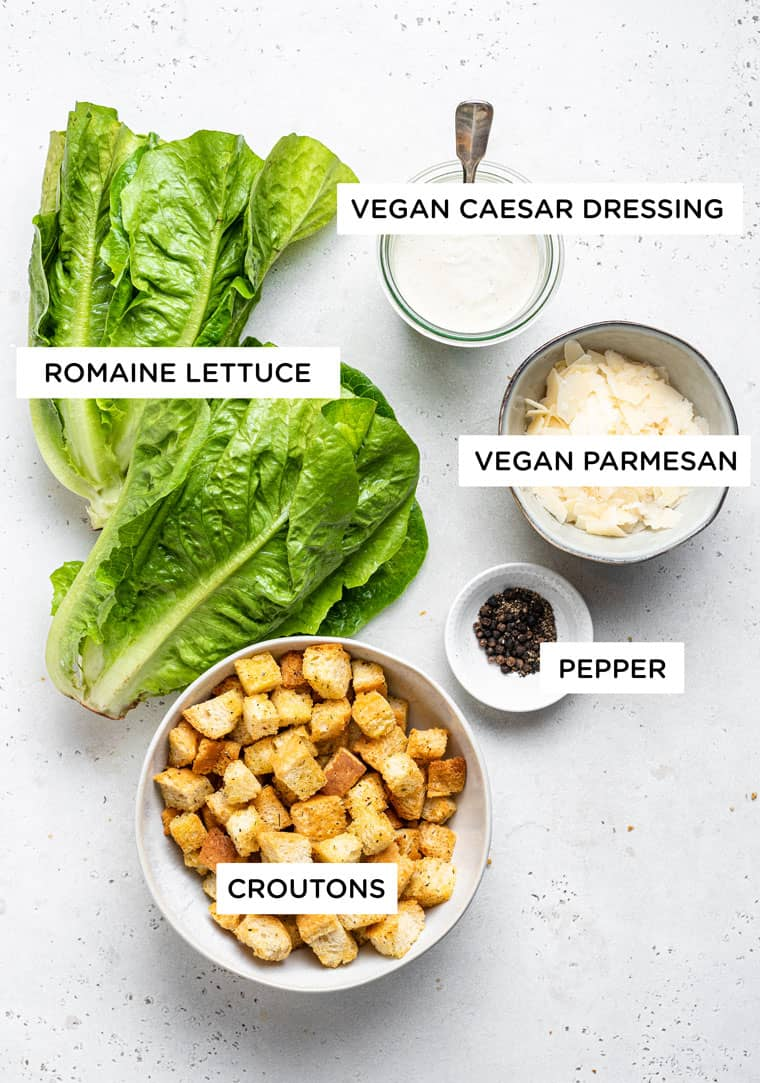 ingredients for vegan caesar dressing with romaine and croutons