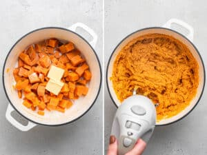 mashing sweet potatoes in a pot with an electric mixer