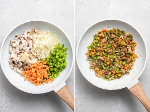 skillet with carrots, celery, mushrooms and onions for shepherd's pie filling