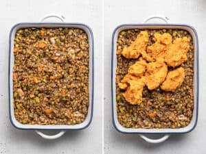 filling a baking dish with vegan shepherd's pie filling and mashed sweet potatoes