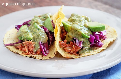 BBQ Chicken Tacos with Tomatillo Salsa |Gluten-Free | Queen of Quinoa