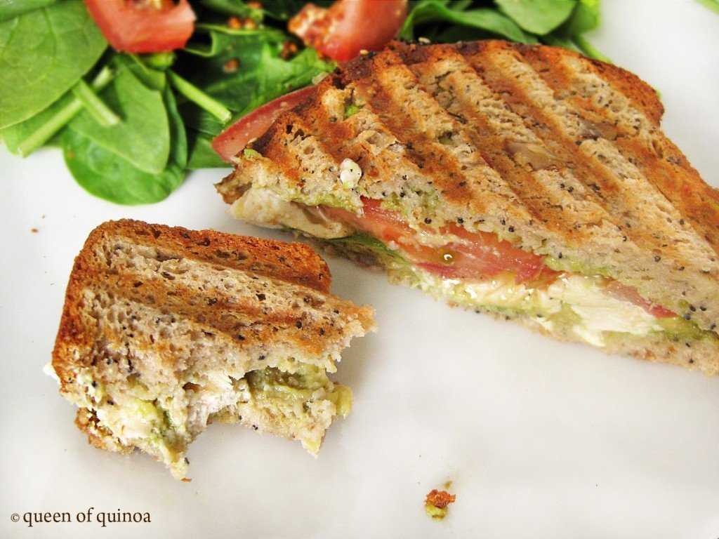 gluten-free panini with grilled chicken and avocados