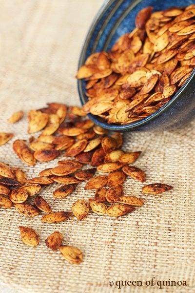 Chili Roasted Pumpkin Seeds | Gluten-Free & Vegan | Queen of Quinoa