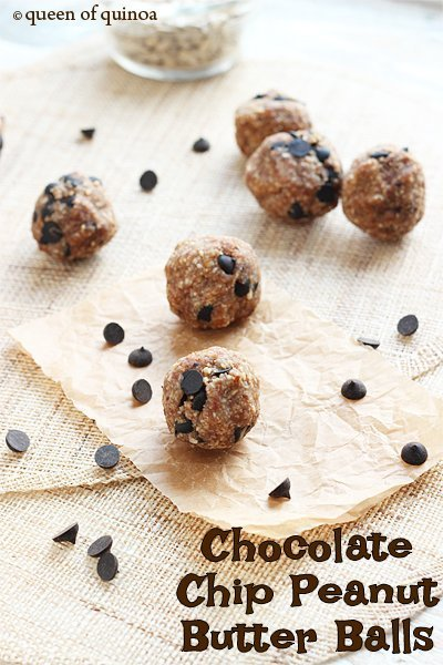 Chocolate Chip Peanut Butter Balls via Queen of Quinoa
