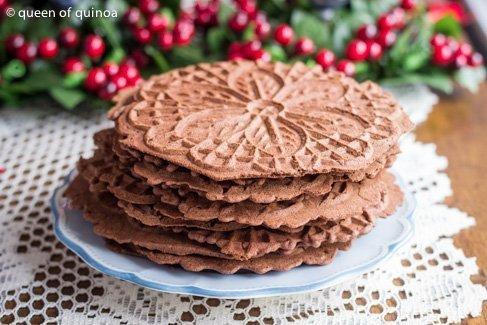 Chocolate Peppermint Pizzelles via Queen of Quinoa (@alyssarimmer) #glutenfree