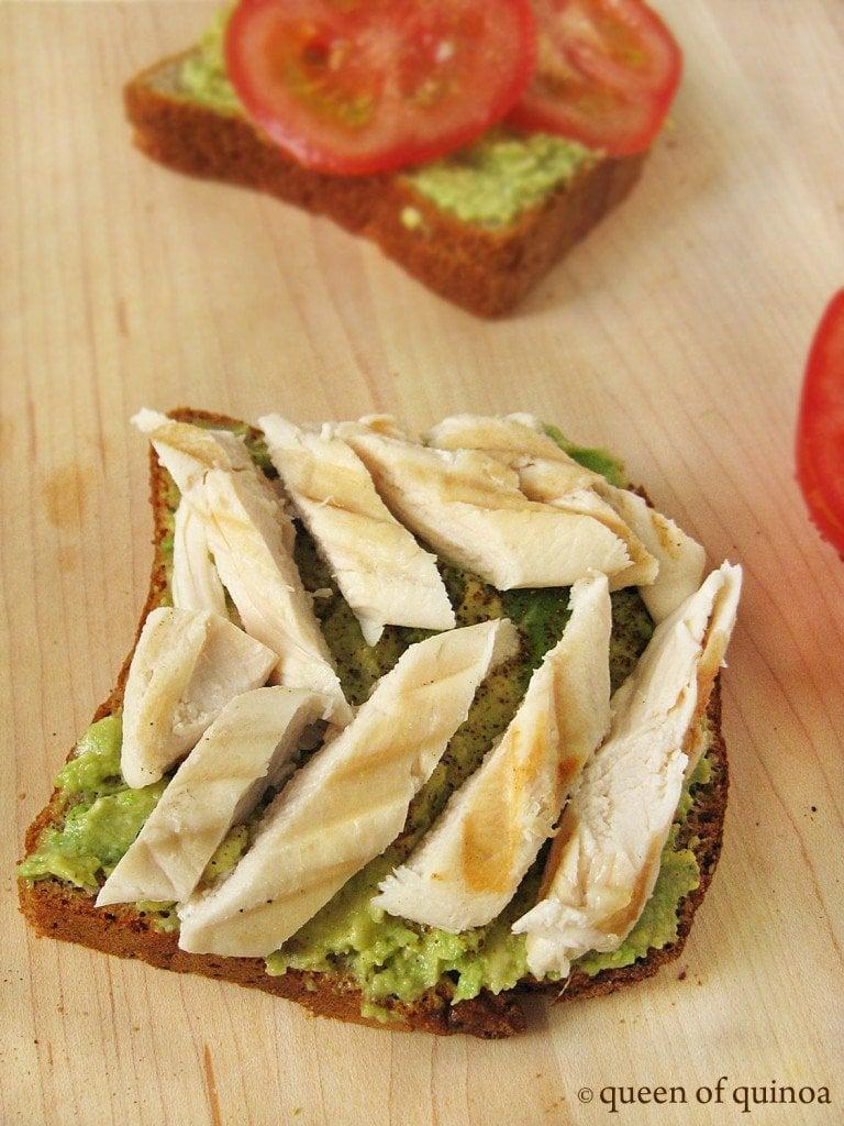 Grilled chicken over gluten-free taost