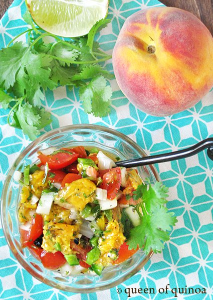 Grilled Peach Salsa | Gluten-free | Queen of Quinoa