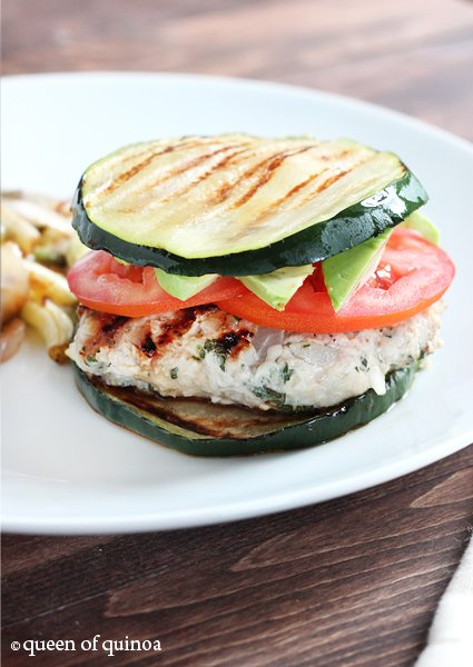 Herbed Turkey Burgers on grilled zucchini buns make a nice light summertime meal!