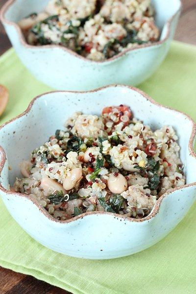 Kale & Sausage Quinoa Salad via Queen of Quinoa (@alyssarimmer)