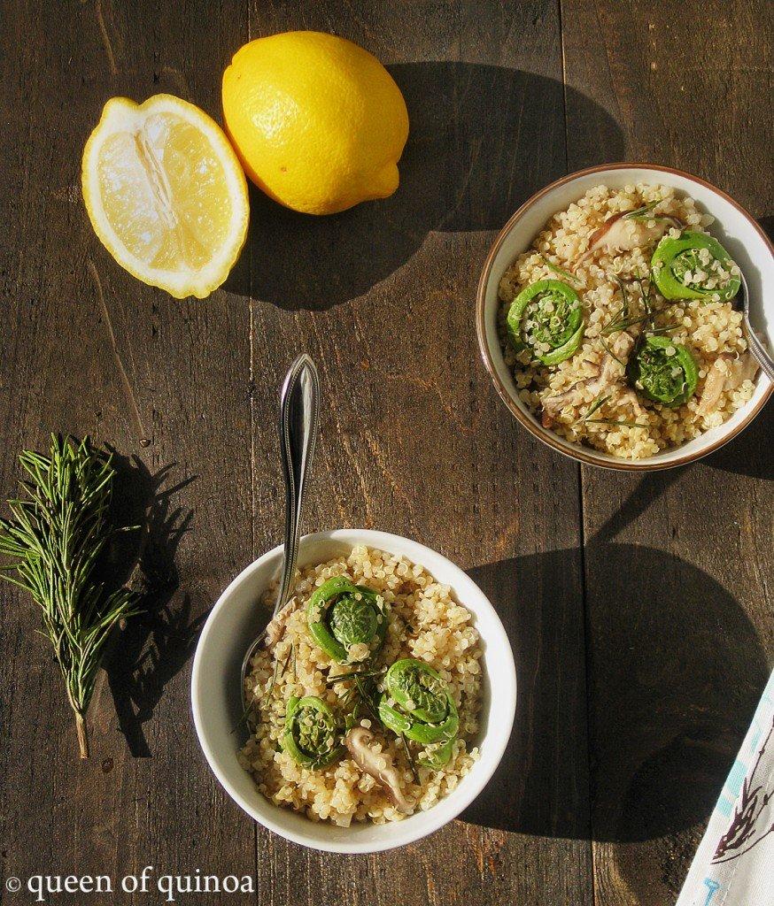 Lemon Rosemary Quinoa with Fiddleheads and Mushrooms