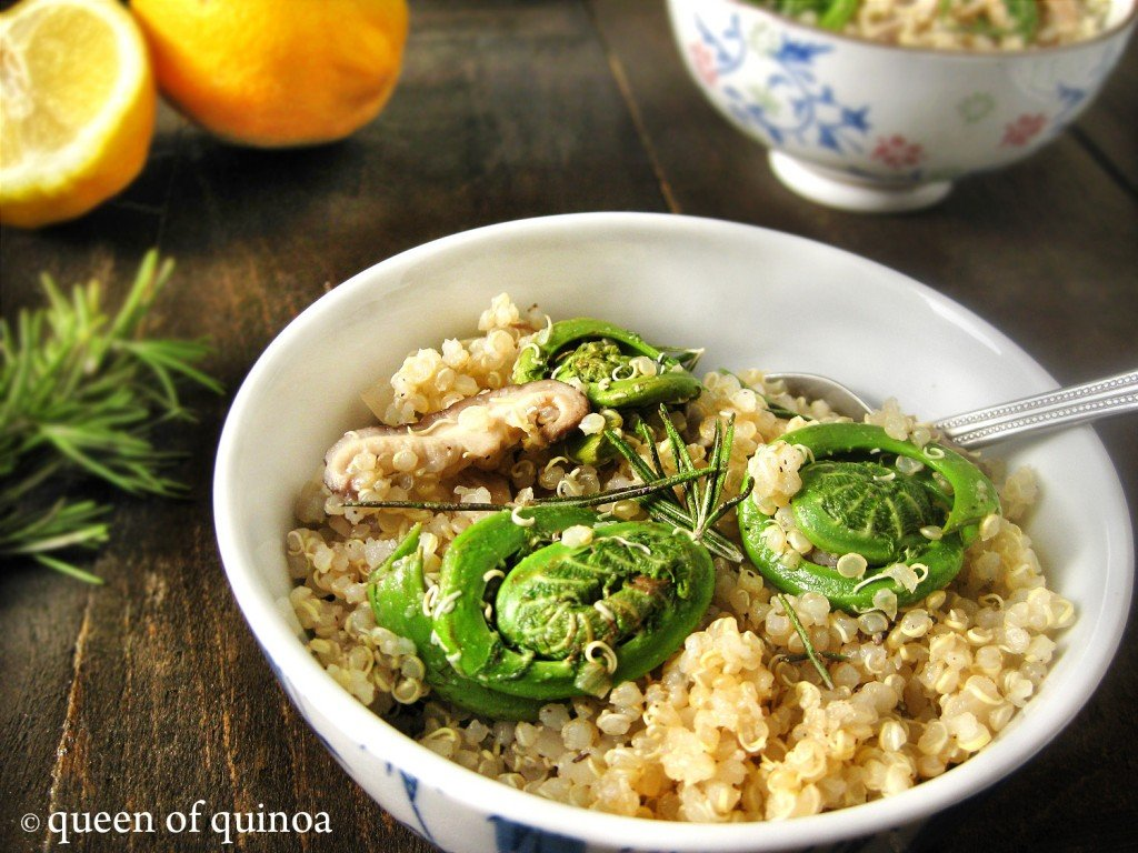 Lemon Rosemary Quinoa with Fiddleheads and Mushrooms