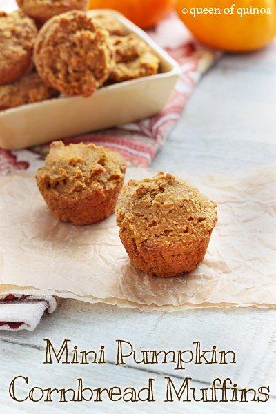 Mini Pumpkin Cornbead Muffins | Gluten-Free | Queen of Quinoa