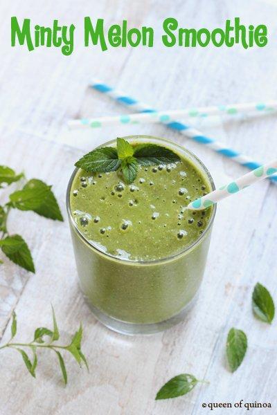 Minty Melon Smoothie | Gluten-Free & Dairy-Free | Queen of Quinoa
