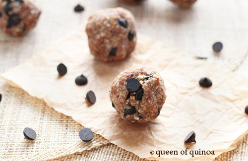 Chocolate Chip Peanut Butter Balls via Queen of Quinoa