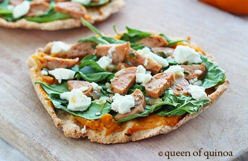 Pumpkin & Spinach Flatbreads with Goat Cheese via Queen of Quinoa (@alyssarimmer)