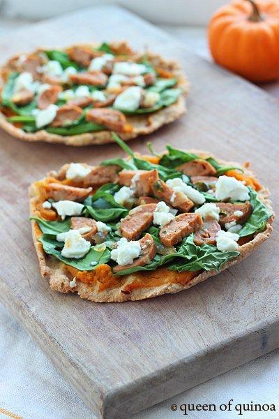 Pumpkin & Spinach Flatbreads with Goat Cheese via Queen of Quinoa (@alyssarimmer)