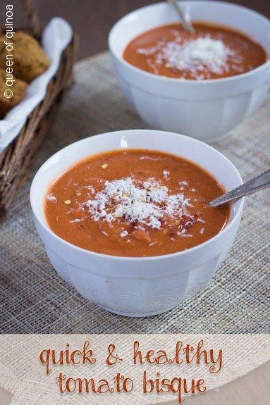 Quick Tomato Bisque via Queen of Quinoa (@alyssarimmer)