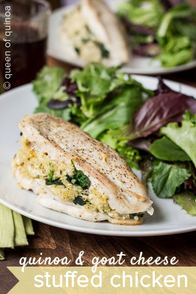 Quinoa and Goat Cheese Stuffed Chicken via @alyssarimmer (recipe on www.simplyquinoa.com)