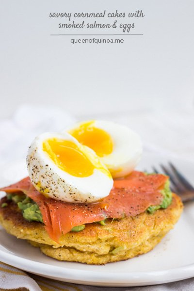 Savory Cornmeal Cakes with Smoked Salmon & Eggs (@alyssarimmer)