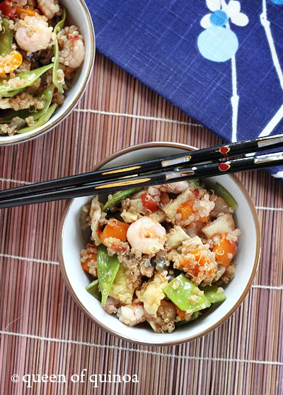 Shrimp and Veggie Fried Quinoa |Gluten-Free | Queen of Quinoa