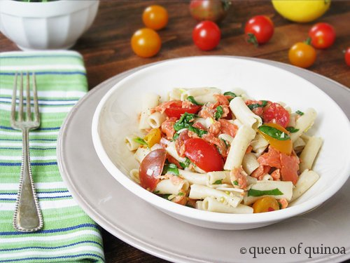 Smoked Salmon Pasta Salad | Gluten-Free | Queen of Quinoa