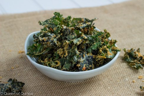 Spicy Raw Kale Chips via Queen of Quinoa (@alyssarimmer)