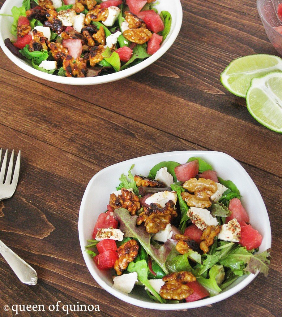 Watermelon & Goat Cheese Salad | Queen of Quinoa