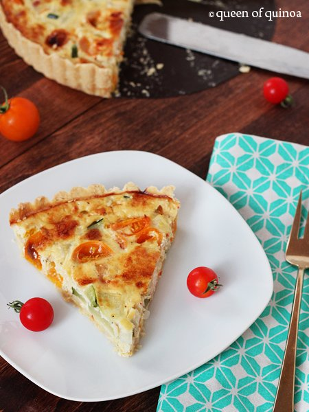 Zucchini & Goat Cheese Tart | Gluten-Free | Queen of Quinoa