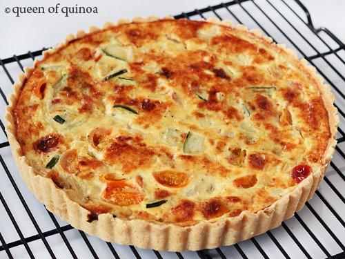 Zucchini Goat Cheese Tart | Gluten-free | Queen of Quinoa