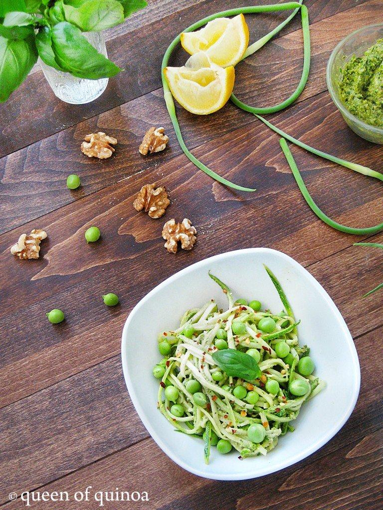 Zucchini Pasta with Garlic Scape Pesto | Queen of Quinoa