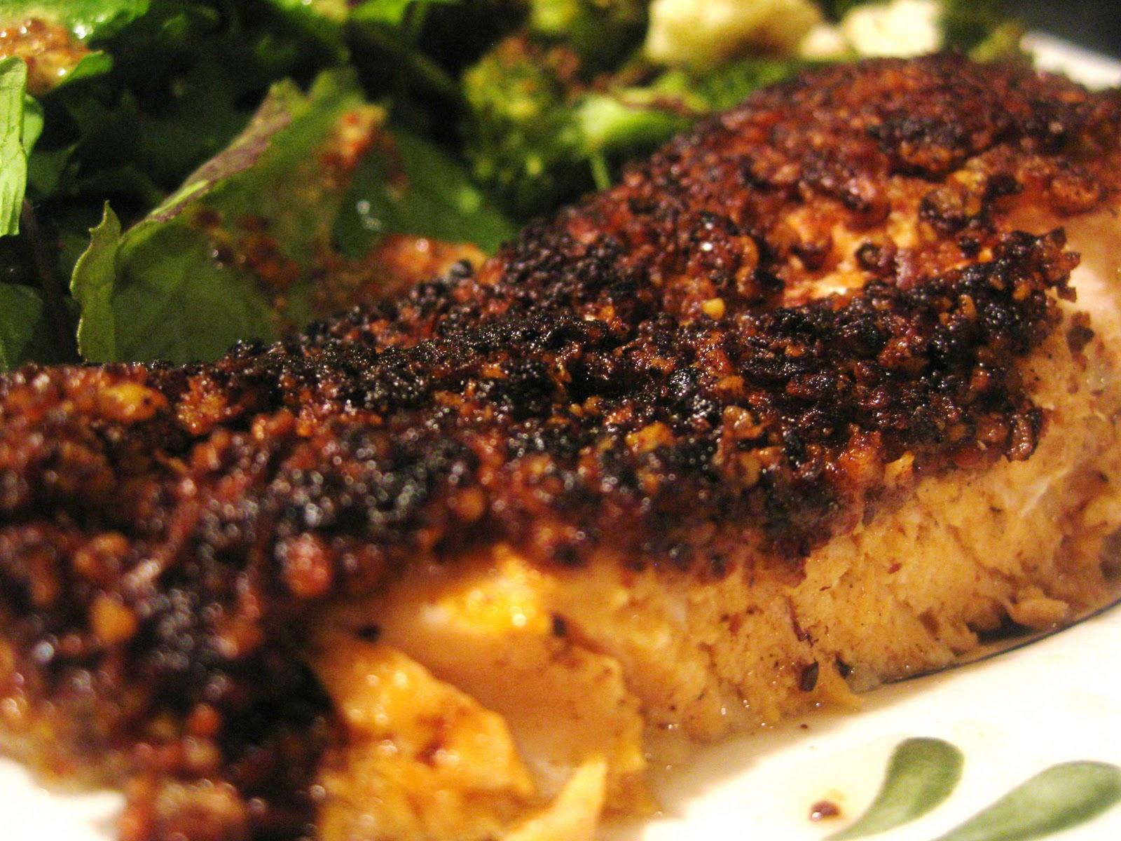 Gluten-free Cinnamon and Pecan Crusted Salmon