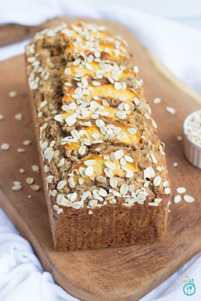 Gluten-Free Peachy Oatmeal Banana Bread - a simple and delicious way to enjoy seasonal peaches in a quick, easy breakfast