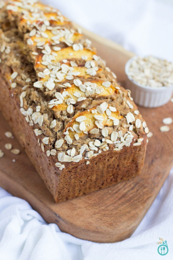 Gluten-Free Peachy Oatmeal Banana Bread